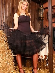 Sunny as cowgirl in classic outfit with dark-skinned sheer stockings