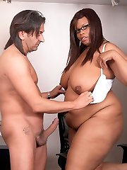 Black BBW secretary teases boss with her juicy curves and ruins his engagement
