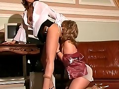 Mature lady-boss interviewing a young girl checking all her juicy assets
