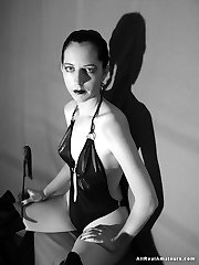 This amateur goth girl next door likes her leather