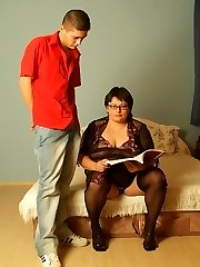 Sexy fat mature model stripping off in front of a younger guy to lure him into lending her his...