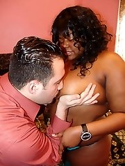 Slutty black BBW Mia Moore bares her clothes and dishes out her chubby mounds to a white guy