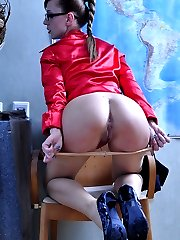 Girl in glasses wears her sheer hosiery without any underwear in the office