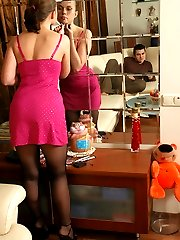 Upskirt chick in sheer-to-waist pantyhose getting new fucking experience