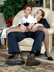 Upskirt secretary flashing her pussy under expensive hose seducing a client