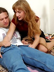 Nylon encased couple fervently rubbing against each other longing for sex