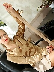 Lustful secretary spying upon kinky boss sniffing hose before jerking off