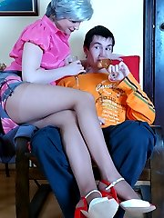 Lewd mature gal in smooth hose has the scam to lure a guy into hot coupling