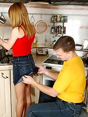 Upskirt babe in tan control top pantyhose ready for fucking in the kitchen