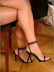 Secretary in white panties and black stockings upskirt