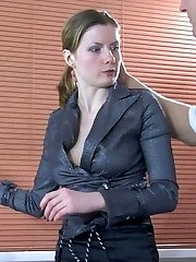 Elegant office girl in black lacy nylons gets licked and nailed on the desk
