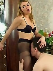 Pantyhosed guy spying upon cutie in black tights aching for frantic fucking