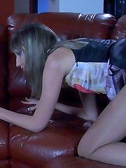 Upskirt teaser in sheer-to-waist tights seduces her nylon-crazy boyfriend