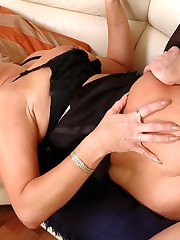 Seductive mature with a fine behind getting her cheeks creamed after anal