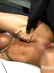 Leya Falcon is a sexy blonde with big tits and a sweet round ass. She thinks she can take a lot...