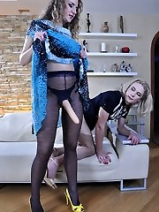 Prissy sissy acts like a maiden blowing and riding his girls strapon cock