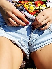 Ass in jeans shorts look delicious