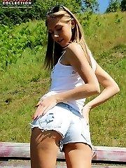 Girls in mini shorts wear no panties