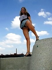 Chubby gal shows upskirt and slide finger in panties