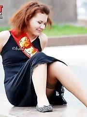 Gorgeous stockings upskirt