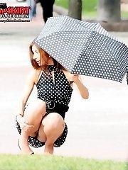 Hot model caught by upskirt spy cam