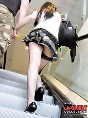 Stockings and string panty upskirts