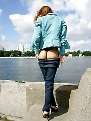 Chick's tight jeans pulled down exposing firm butts
