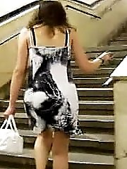 She doesn't notice us making upskirt videos when walking up the stairs