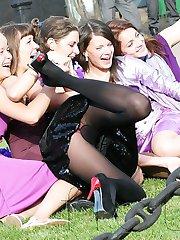 Secret voyeuring of horny upskirts