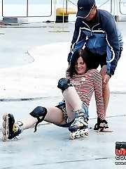 Mini skirt up skirt on ice rink