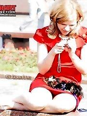 Seductive red mini dress upskirt