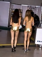 Saucy dolls spied on cam when modeling in shorts