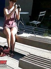 Naughty upskirt girl enjoys attention