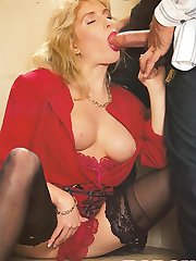 Busty retro lady gets dick
