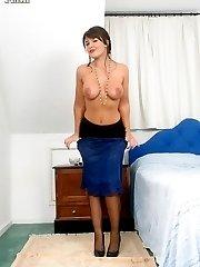 Curvy brunette Elle in lovely blue full slip and RHT stockings!