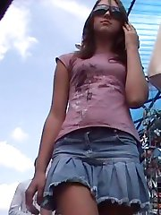 Real upskirt video outdoors