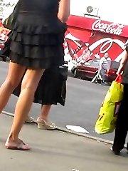Up arrogant chick's skirt