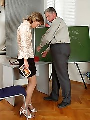 Giant elderly teacher licks teeny's muff and gets a messy blowjob in return during a private lesson