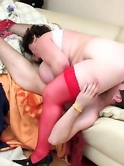 Mature lady-boss handling heavy pecker like a pro before rabid dicking