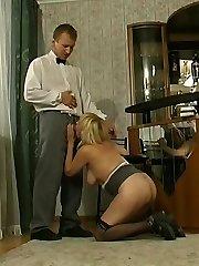 Lovemaking-addicted mature stunner seducing barman into breathtaking fucking on floor