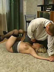Lovemaking-addicted mature stunner seducing barman into breathtaking fucking on floor