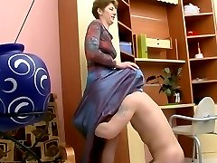 Kinky mom lowers her hose a little to free her muff aching for hard dicking