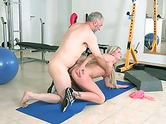 Martina wanted the old goes young guys dick to be hard enough for the pounding to follow so she...