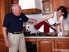 Sex-obsessed dad drills young babes pinkie