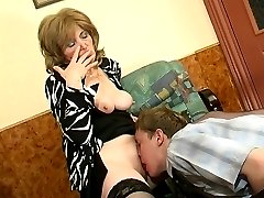 Younger guy trying to satisfy insatiable mature chick in every which way