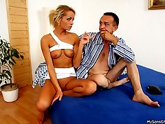 Hot horny blonde got caught cheating with her bfs dad who pretended to be sick