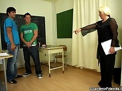 They are behaving badly so she makes them satisfy her sexual needs and fuck her old pussy