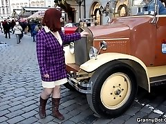She goes home with him after a ride in a vintage car and the two of them have great granny sex