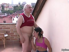 Old dude seen masturbating by his sons girlfriend and it all ends in filthy sex