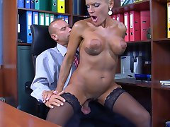 Sexy mature secretary seduces her younger boss and gets nailed on the desk